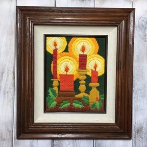 Vintage Needlepoint Framed Christmas Wall Art 70's